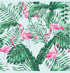 Green tropical leaves and pink flamingo seamless vector
