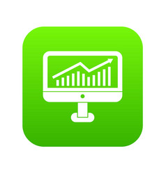 growth graph on the computer monitor icon digital vector image