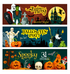 Halloween holiday zombie party invitation banner vector