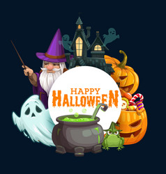 Halloween pumpkins with candies ghosts wizard vector