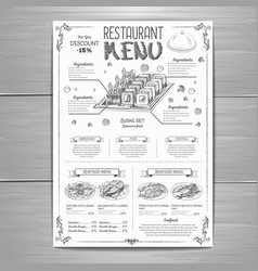 Hand drawing restaurant menu design vector