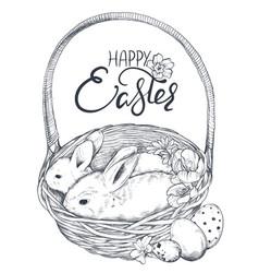 hand drawn rabbits vector image