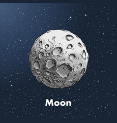 hand-drawn sketch of moon in color against a vector image