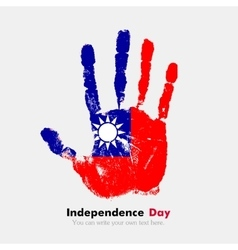Handprint with the Flag of Taiwan in grunge style vector image
