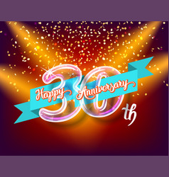 happy 30th anniversary glass bulb numbers set vector image