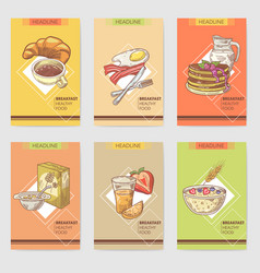 healthy breakfast hand drawn cards brochure vector image