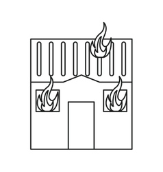 house fire bursts windows roof line vector image