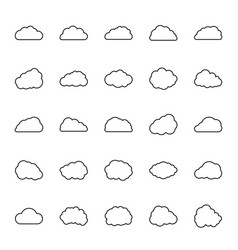 icon set clouds in line style vector image