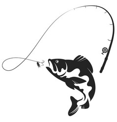 Jumping fish and fishing rod silhouette vector