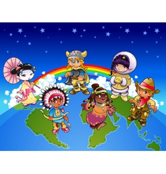 Kids from all over world vector