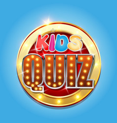 Kids quiz game show logo vector