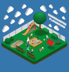 Kindergarten play ground isometric composition vector