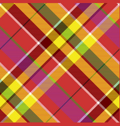 madras colored plaid diagonal fabric texture vector image
