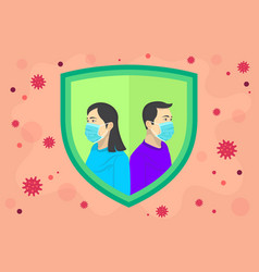 Men and woman use masks to prevent corona virus vector