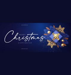 Merry christmas design template with fir tree vector