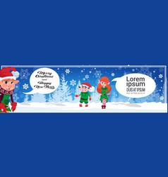 merry christmas horizontal banner cute elf vector image