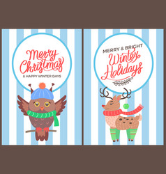 merry christmas owl and reindeer poster vector image