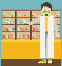 Modern flat of a pharmacist at the counter in a vector