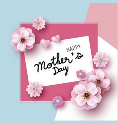 mothers day card design pink flowers vector image