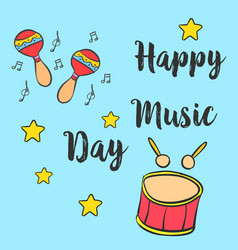 Music day hand draw style card collection vector