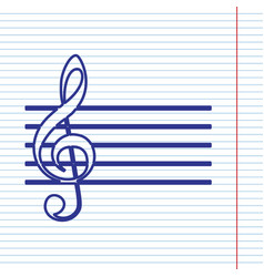 Music violin clef sign g-clef navy line vector