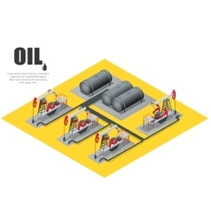 Oil field extracting crude oil Oil pump Oil vector image
