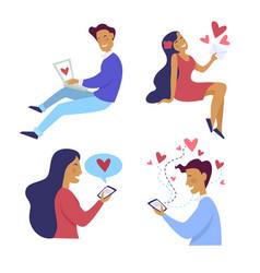 Online messaging internet dating couple man vector