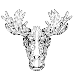 Ornamental head of elk layered vector image