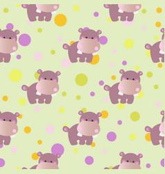 pattern with cartoon cute toy baby behemoth vector image