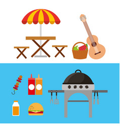 picnic party scene icon vector image