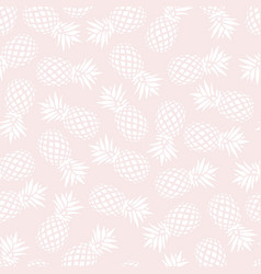 Pineapple seamless pattern on pink background vector
