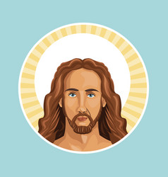 Portrait jesus christ stamp vector