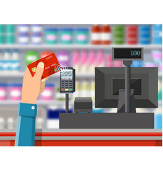 Pos terminal confirms payment by bank card vector