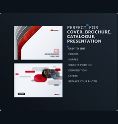 Presentation abstract red set of modern vector