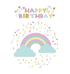 Rainbow birthday card vector