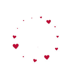 red heart love confettis valentines day frame dr vector image