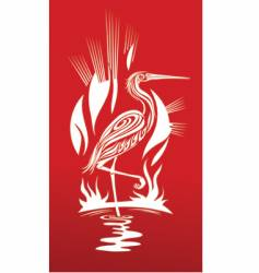 red heron vector image