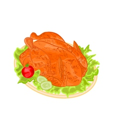Roasted holiday turkey on platter vector