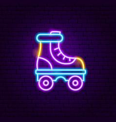 roller skate neon label vector image