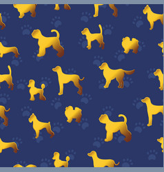 Seamless pattern with yellow gold dogs on dark vector