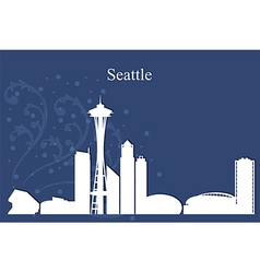 Seattle city skyline on blue background vector