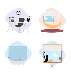 Set different spaces home room desk chair vector