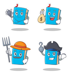 Set of blue book character with doctor money bag vector
