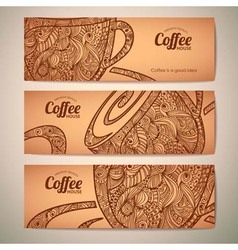 Set of decorative vintage coffee banners vector image