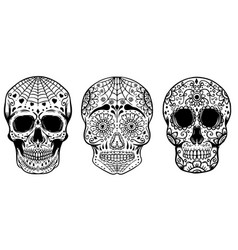 Set of hand drawn sugar skulls isolated on white vector