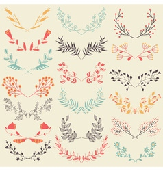 Set of hand drawn symmetrical floral graphic vector