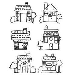 set of house hand draw collection vector image