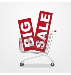 Shopping cart with sale banners vector