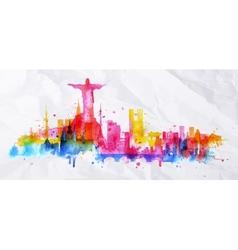 Silhouette overlay city Rio de Janeiro vector image