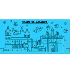 Spain salamanca winter holidays skyline merry vector